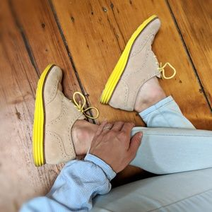 Cole Haan Lunargrand Oxford Yellow Suede Shoes